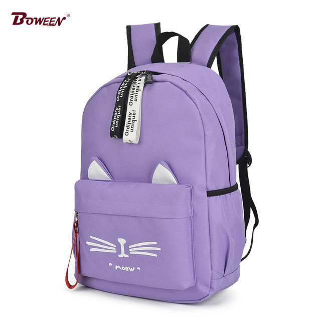 2019 Cute Cartoon School bags for Teenage Girls Nylon Backpack Schoolbag Women Famale Casual Teen student bookbag Cat Ears new