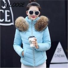 AILOOGE 2016 TOP Quality Large Real Fur Winter Jacket Women Raccoon Fur Collar Hooded Short Down Coat For Women Winter coat