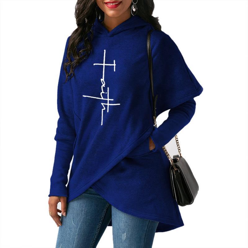 2019 New Fashion Faith Print Hoodies Sweatshirts Women Femmes Casual Long Sleeve Printing Cute Cotton Cropped Plus Size