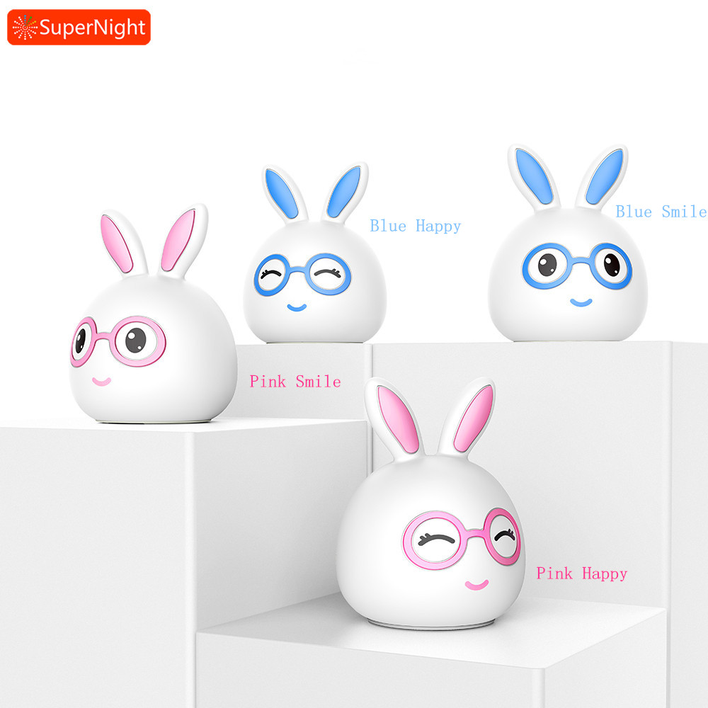 SuperNight Cartoon Dr Rabbit LED Night Light Touch Sensor Colorful Silicone Rechargeable Bedside Table Lamp for Kids Baby Gift cartoon bees night light dc 5v usb rechargeable night lamps touch dimming led table lamp baby children gift bedside lamp