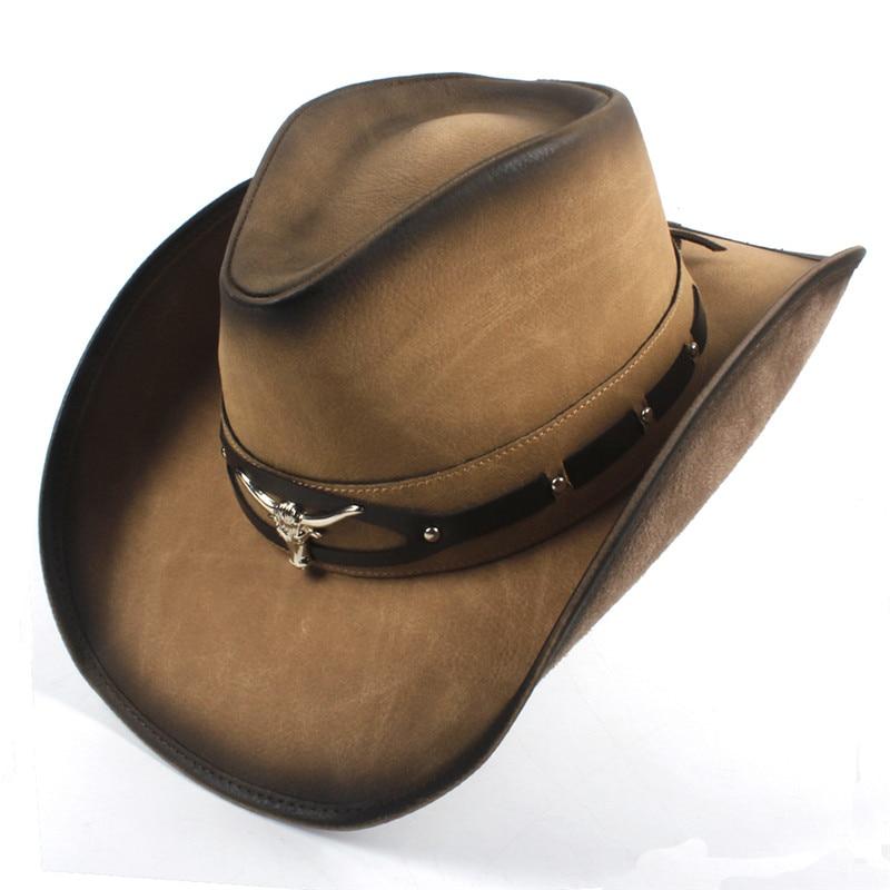 a2ae6b794fa Cowboy Hats Women Men Western Cowboy Hat For Dad Gentleman Lady Leather Sombrero  Hombre Jazz Caps