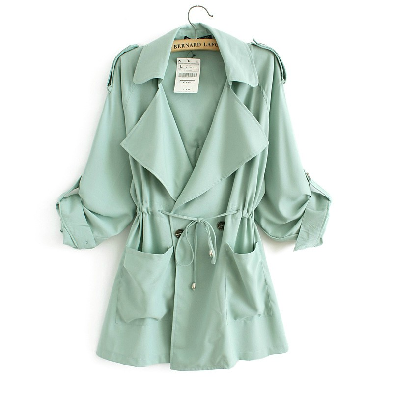 Hot Sale Women Long Chiffon   Trench   Coat 2016 Fashion Casual Spring Summer Loose Lavender/Orange/Mint Green   Trench   Coats YC001