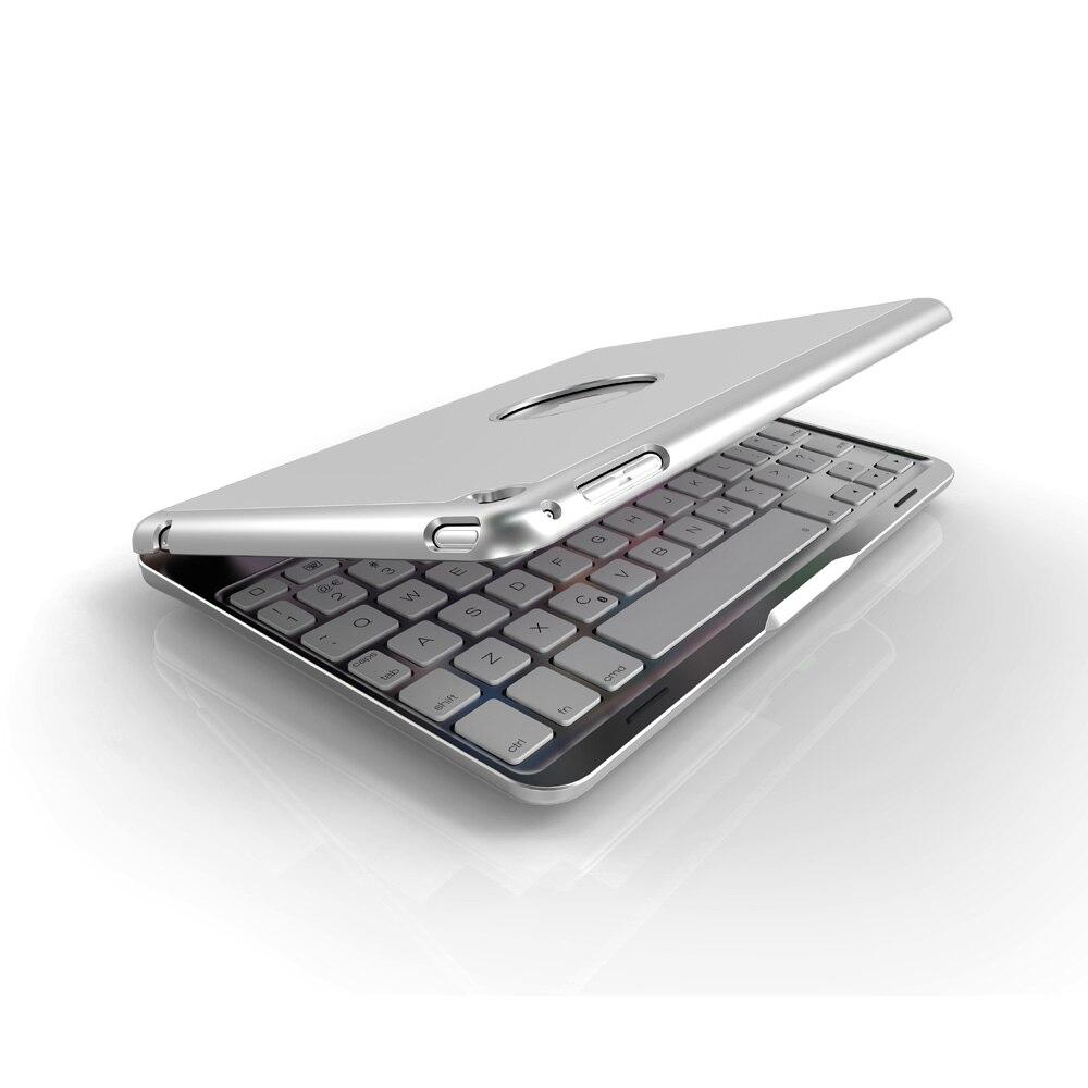 תאורה אחורית Case מקלדת Bluetooth אלחוטית עבור iPad Mini 4 עם תאורה אחורית LED צבעוני (4)