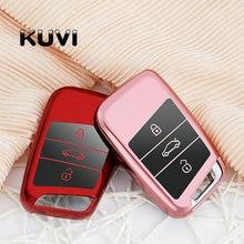 Car Remote Silicone Key Case For 2016 2017 VW Passat B8 Skoda Superb A7 Key Cover Key Fob Pocket Shell Skin Keychain Ring