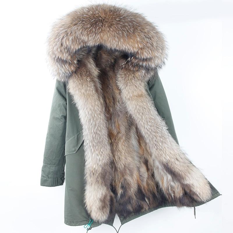 2018 Brand New Réel Fourrure De Raton Laveur Parka Femmes Long Manteau à Capuchon Noir Camouflage Épais Chaud De Fourrure Vestes Deux En Un doublure amovible
