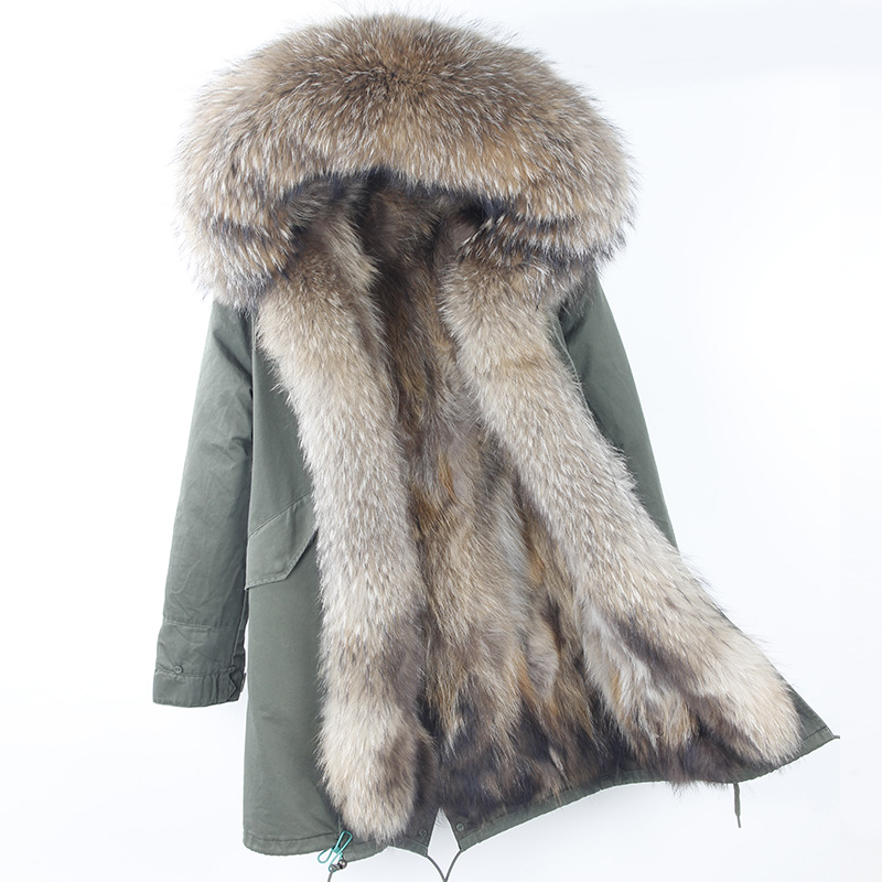 2018 Brand New Real Raccoon Fur Parka Women Long Coat Hood Black Camouflage Thick Warm Fur