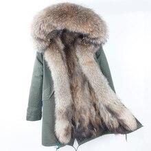 2018 Фирменная новинка натуральный мех енота парка для женщин длинное пальто капюшон черный камуфляж толстые теплые меховые куртки два в