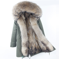 2018 Brand New Real Raccoon Fur Parka Women Long Coat Hood Black Camouflage Thick Warm Fur Jackets Two In One Detachable Liner