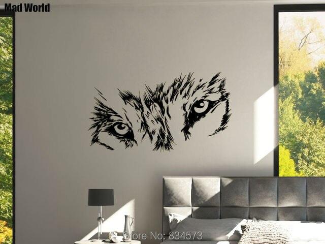 Mundo Loco Lobo Ojos Bestia Salvaje Animal Arte Pegatinas De Pared