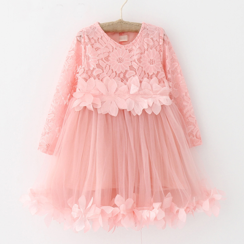 2018 Summer New Girls Clothing Lace Mesh Splicing Baby Dresses For Girl Party Princess Dress Fashion Petal Kids Girls Dresses 2018 summer girls teens party dress petal sleeve o neck children kids dress for girl 12 years old lace net yarn princess dresses