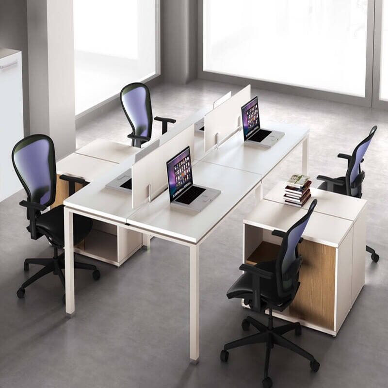 Office Table For 4 Person: Table Foreign Office Furniture Screen Desk Staff Station