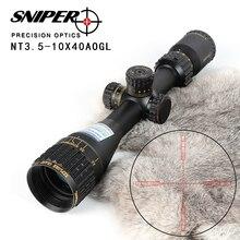 Снайпер NT 3,5-10X40 AOGL Охота Riflescopes тактический оптический прицел полный размер стекло гравированное сетка RGB подсветкой прицел