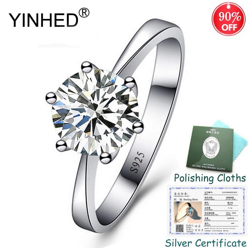 Certificado de prata enviado! Yinhed 100% 925 anel de prata esterlina clássico 6 garras 1ct solitaire cz anéis de noivado para mulher zr556