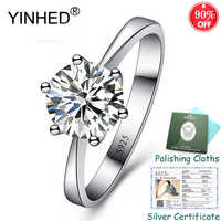 Sent Silver Certificate! YINHED 100% 925 Sterling Silver Ring Classic 6 Claws 1ct Solitaire CZ Engagement Rings for Women ZR556