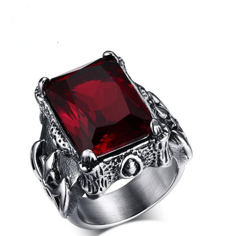 With Red Stone Stainless Steel Rings For Men Wedding.Party