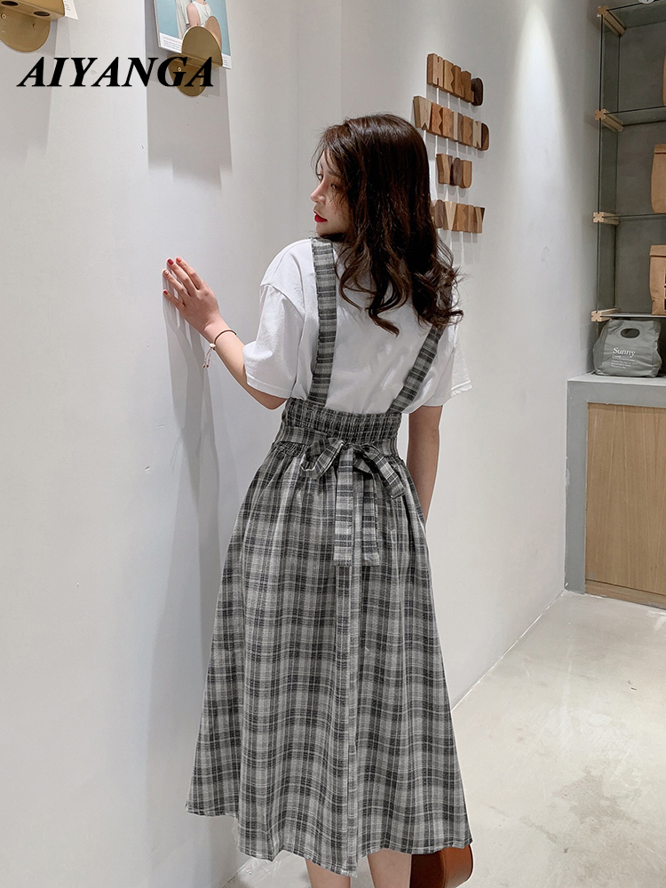Women Skirt 2019 Fashion Saia Ladies Strap Skirts Womens Casual High Waist Long Vintage Summer Plaid Skirt
