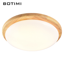 BOTIMI Janpaness LED Ceiling Lights Round Wood  Surface Mount Room Lamp lamparas de techo Lighting Fixtures For Bedroom Kitchen