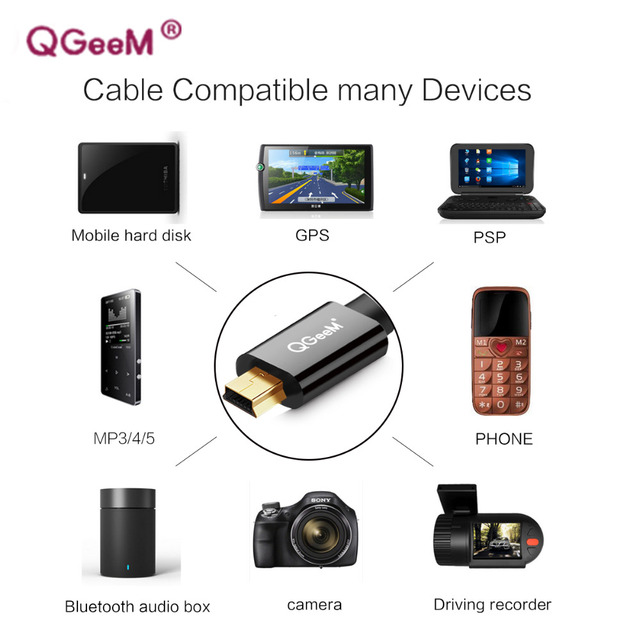 QGeeM Mini USB Cable Mini USB to USB Fast Data Charger Cable for Cellular Phones MP3 MP4 Player GPS Digital Camera HDD Mini USB
