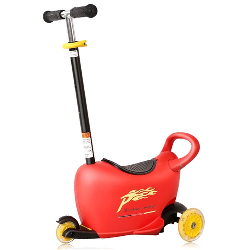 Multifonctionnel enfants Scooter 4 en 1 Balance vélo tour sur jouets Scooter siège banc boîte de rangement enfant panier trois hauteur réglable