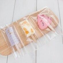 W nowym stylu cienkie przezroczyste ząbkowane z tworzywa sztucznego lodu krem torba Opp Popsicle pakiet pokrowiec do pieczenia żywności opakowanie 8*19 cm 200 sztuk/partia