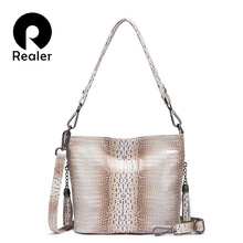 REALER genuine leather Hobo bag designer women handbag luxur