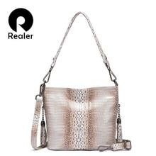 REALER genuine leather Hobo bag designer women handbag luxur