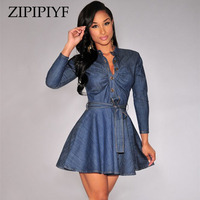 ZIPIPIYF New Spring Summer 2017 Women Elegant Fashion Dress Denim Casual Dress Designer Plus Size Women