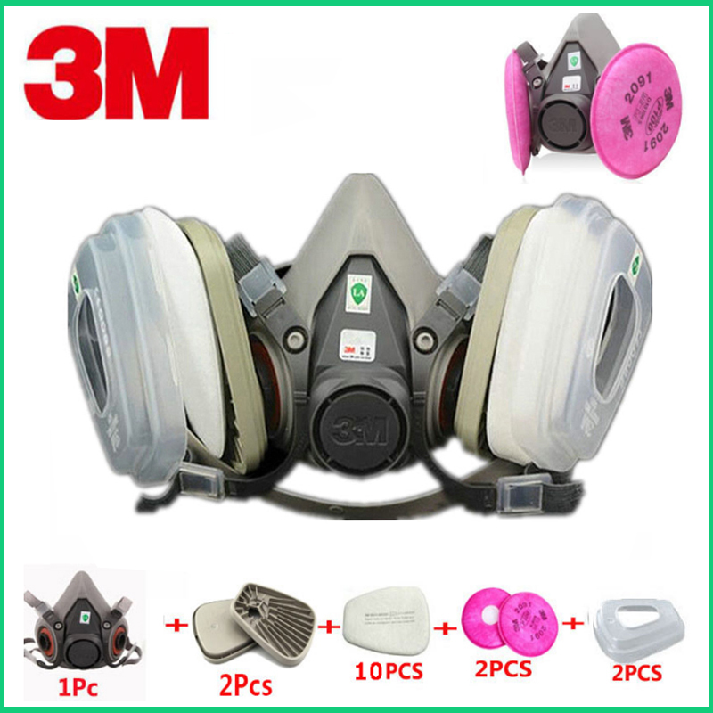 17in1 Set 3M 6200 Industrial Half Mask Spray Paint Gas Mask Respiratory Protection Safety Work Dust-proof Respirator
