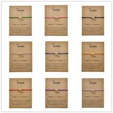 лучшая цена Message Card Fashion Jewelry 12 Constellation Zodiac Scorpio Rope Chain Bracelet Bangles For Women Birthday Gift