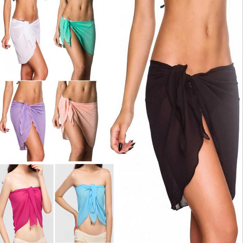 75299e33e0e2e 10 colors sexy swimwear women beach skirt solid color chiffon cover up  bikini wrap beach sarong
