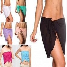 6131bdfeeb 10 colors sexy swimwear women beach skirt solid color chiffon cover up  bikini wrap beach sarong for swim bathing suit swimsuit