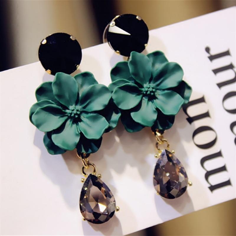 LUBOV Модные Винтажные богемные серьги с натуральным камнем с черными кристаллами большие серьги для женщин ювелирные изделия зеленый цветок...