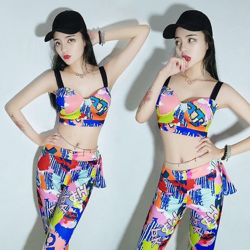 New Jazz Costume Personality Graffiti Hip Hop Pole Dance Clothes Nightclub Dj Ds Gogo Performer Lead