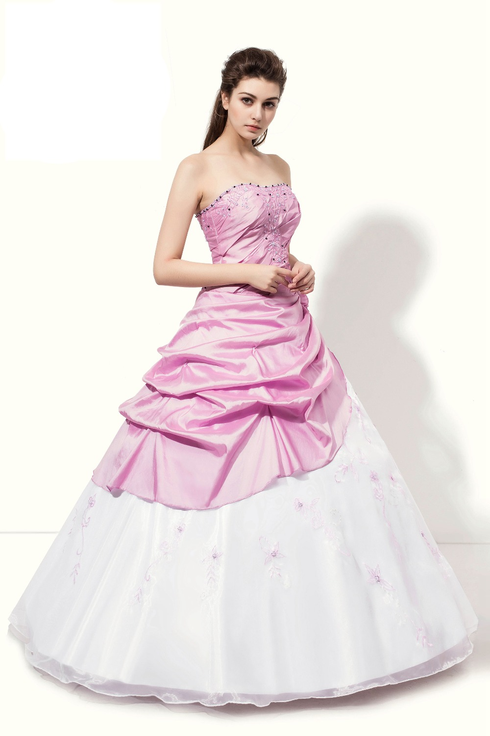 74648eba77c In Stock Pink White Quinceanera Dresses New Taffeta And Tulle Quinceanera  Dress Handmade Flowers And Embroidery Blushing Selling-in Quinceanera  Dresses from ...