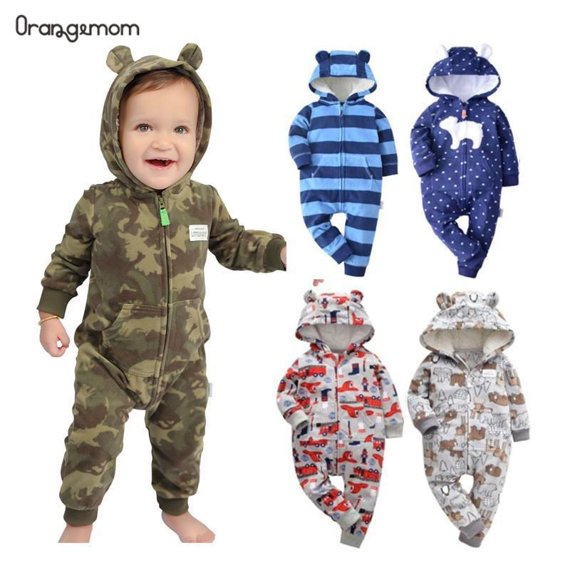 Orangemom Spring  Fleece Baby Rompers Coats For Infant Clothes Hooded With Ear Lovely Camo Jumpsuits For Baby Boys Clothing Home