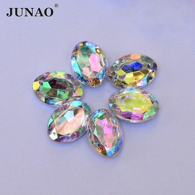 JUNAO 13 18mm Oval Shape Crystal AB Rhinestones Applique Pointback Acrylic  Stones Beads Strass Crystals eead34e90b90