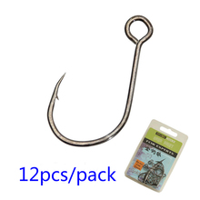 Hot 12 Pcs/pack High Carbon Steel Big Eye Fishing Hook For Live Bait And Hardbait Super Lock Fishhooks Lure Tackle Pescag Hooks