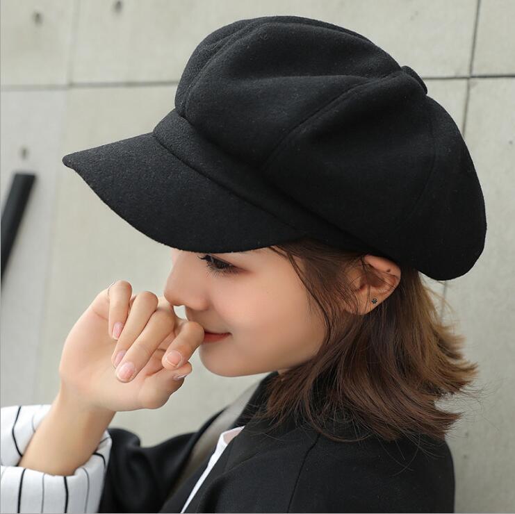 oZyc wool  Women Beret Autumn Winter Octagonal Cap Hats Stylish Artist Painter Newsboy Caps Black Grey Beret Hats 1
