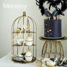 Decoración decorativa de la jaula del Pájaro de hierro medio Marco de mesa de postre Utilería de la torta de la boda soporte de comedor frío dorado Vintage