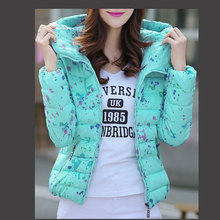 Jackets Women Slim Coats long sleeve Print Floral Hooded Winter Parka Zipper Plus Size Cotton-Padded camperas mujer invierno