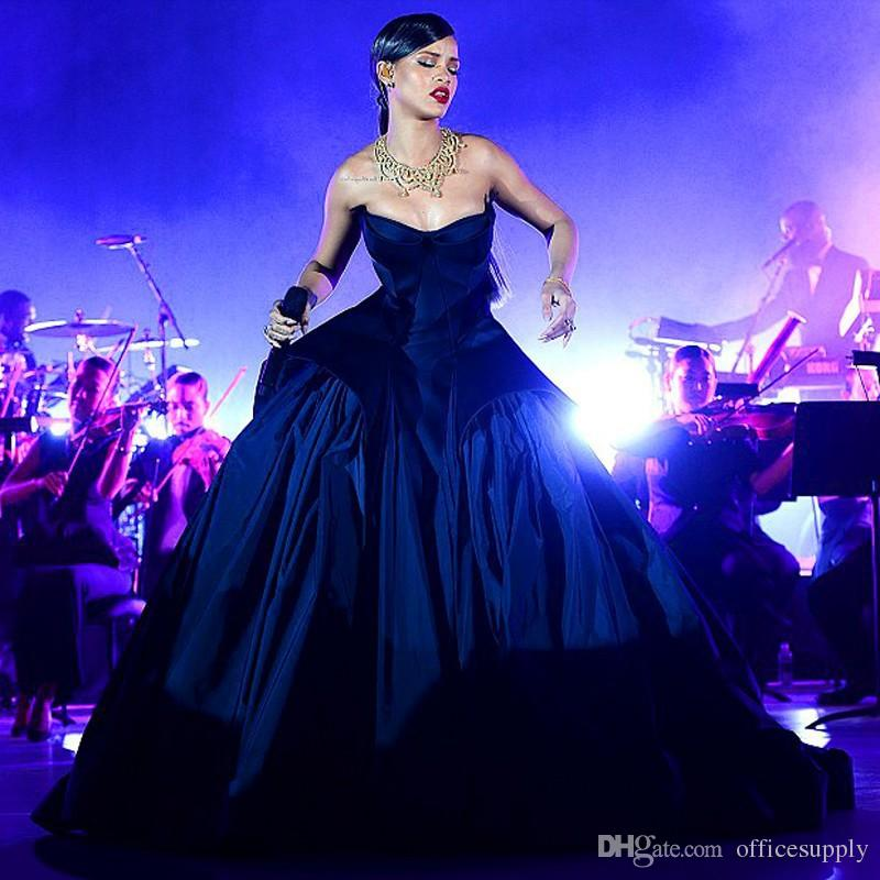 fedcd18e0b2f2 New Rihanna Ball Gown Navy Blue Prom Dresses 2016 Evening Dresses Red  Carpet Dresses Formal Gowns For Women Vestidos 2017
