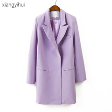 High Quality 2017 Purple Blazer Women Long Sleeve Slim Fit Casual Blazer Jacket Work Office Lady OL Elegant Slim Suit Blazers