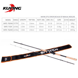 """Image 2 - KUYING SNATCH 2.1m 70"""" 2.19m 73"""" 2.28m 76"""" Super Hard XH H Carbon Casting Lure Fishing Rod Pole Cane Stick Fast Action"""