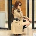 Mulheres jaqueta Nova Jaqueta de Renda Primavera e No Outono Coreano Slim fina longa seção de trespassado do revestimento das mulheres frete grátis