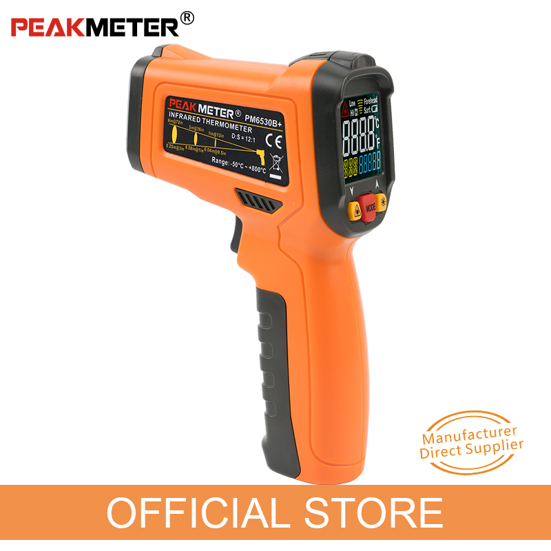 PEAKMETER PM6530B+ Laser LCD Digital IR Infrared Thermometer Temperature Meter Gun Point 50~550 Degree Non Contact Thermometer