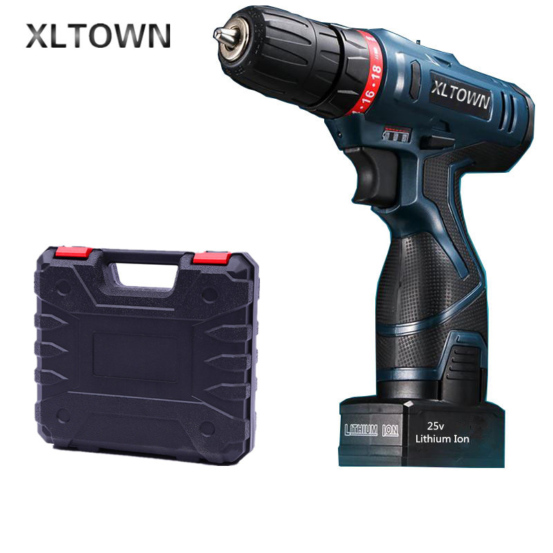 цена на Xltown 25v two-speed rechargeable lithium battery electric screwdriver with a Plastic box packaging electric drill power tool