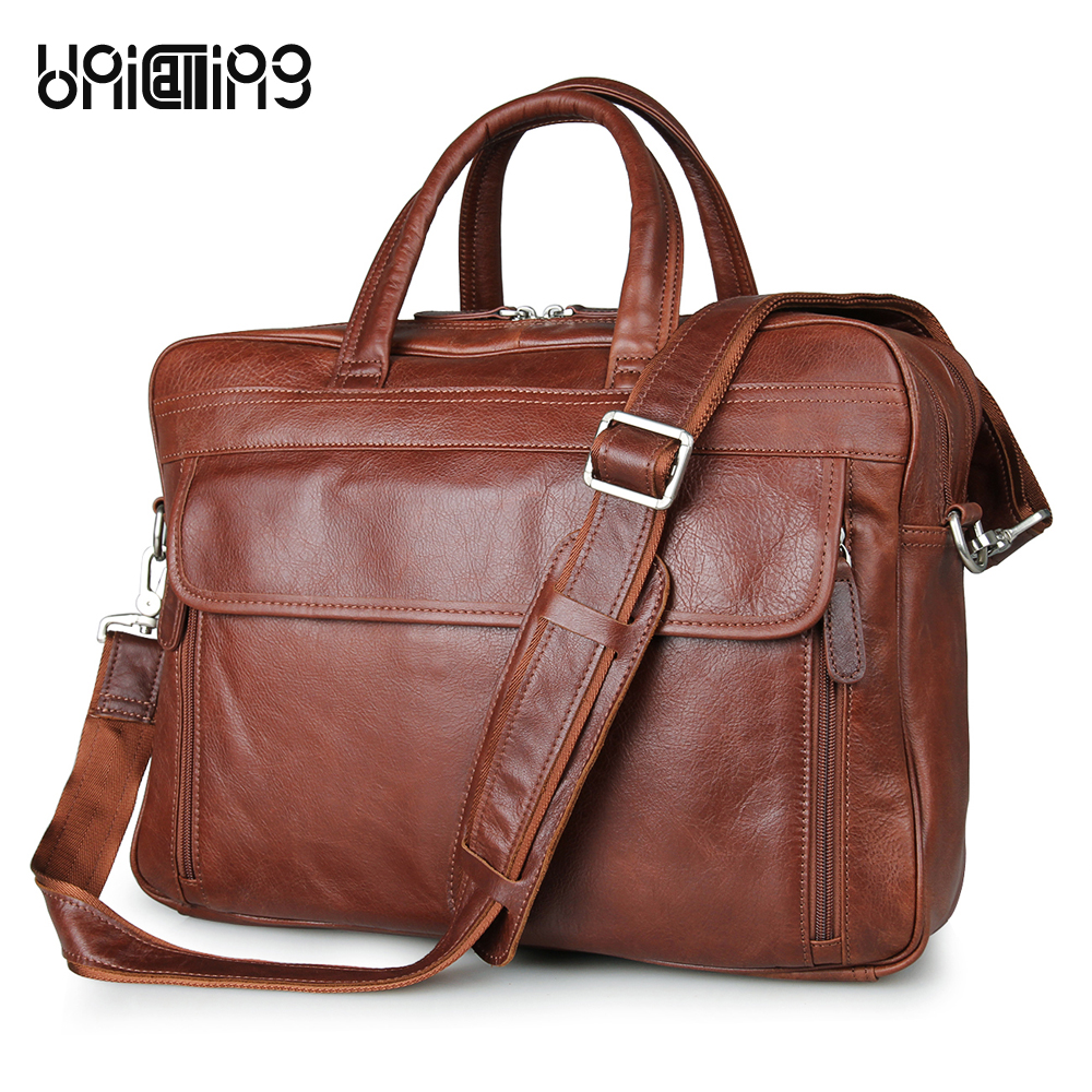 UniCalling quality large capacity men leather handbag male genuine leather business 15 laptop bag handbag double zipper layers