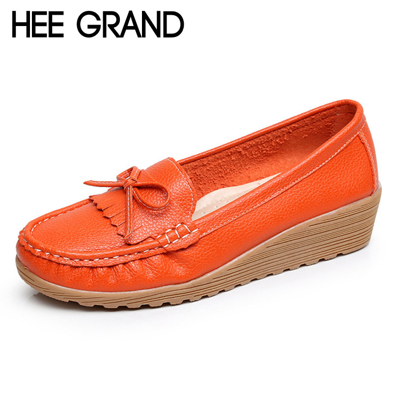 ФОТО HEE GRAND Tassel Loafers Casual Wedges Platform Shoes Woman Creepers Slip On High Heels Comfort Women Shoes Size 35-40 XWD4357