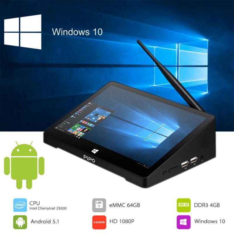 Prix pour Pipo x10 pro mini pc 10.8 pouce fhd windows 10 + android 5.1 tv boîte intel atom z8350 quad core 4 gb + 64 gb hdmi 10000 mah batterie