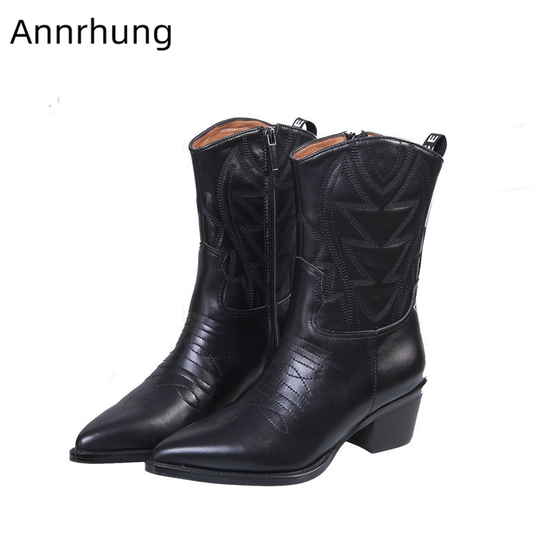 Sewing Mid-Calf Riding Boots Women Sexy Pointed Toe Block Heel Side Zip Black Genuine Leather Short Botas Woman